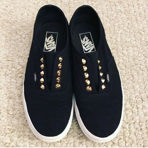 Vans size 8 limited edition black slip ons studs